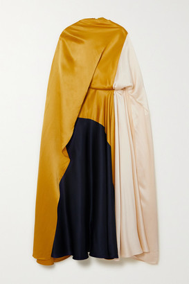Roksanda Andromeda Cape-effect Color-block Silk-satin Midi Dress - Gold