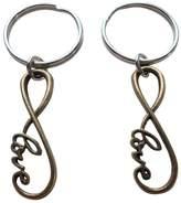 JewelryEveryday Double Keychain Set Infinity Love Symbol Keychain - You And Me For Infinity; Couples Keychain Set