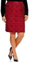 Calvin Klein Plus Rose Print Brocade Pencil Skirt
