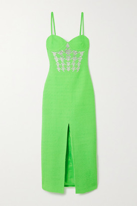 David Koma Crystal-embellished Wool-blend Boucle Midi Dress - Green