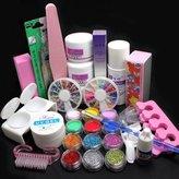21 in 1 Pro Nail Art Decorations Uv Gel Kit Brush Buffer Tool Nail Tips Glue Colorful Acrylic Powder Glitter 4 way Buffer Block Sanding Files Set Tools #189