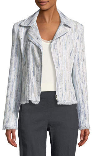 Elie Tahari Mae Fringed-Trim Tweed Jacket