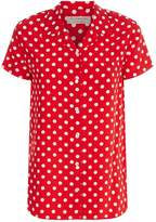 Burberry Polka Dot Silk Shirt, Orange, UK 14