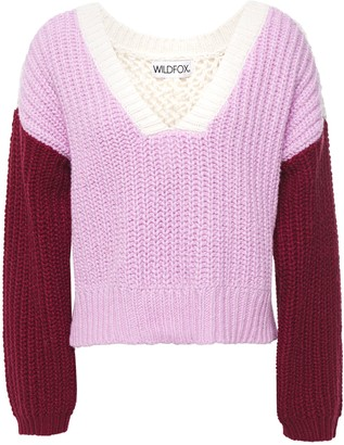 Wildfox Couture Color-block Ribbed And Open-knit Cotton Sweater