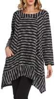 Kaktus Women's Asymmetrical Hem Long Sleeve Plus Size Tunic Top, Black and White