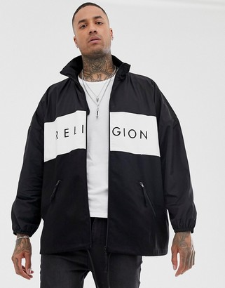 Religion oversized jacket with funnel neck in black