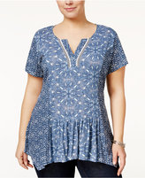 Style&Co. Style & Co Plus Size Mixed-Print Top, Only at Macy's