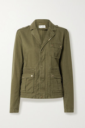 Saint Laurent Cotton And Ramie-blend Drill Jacket - Army green