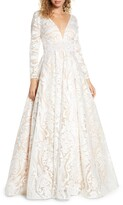 Thumbnail for your product : Mac Duggal Long Sleeve Paisley Mesh Ballgown