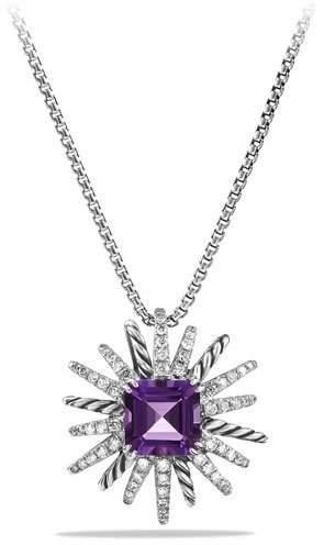 David Yurman 23mm Amethyst Starburst Pendant Necklace