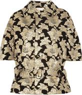 Floral cotton-blend brocade belted jacket