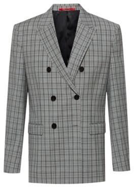 HUGO BOSS Slim-fit double-breasted jacket in Glen-check virgin wool