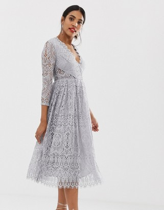 Asos Design DESIGN long sleeve lace midi prom dress-Grey