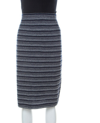 St. John by Marie Gray Navy Blue Striped Knit Skirt XL