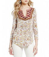 Lucky Brand 3/4 Sleeve Embroidered Bib Paisley Print Knit Top