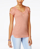 Planet Gold Juniors' Cold-Shoulder Burnout T-Shirt