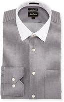 Neiman Marcus Extra-Trim Striped Dress Shirt, Gray