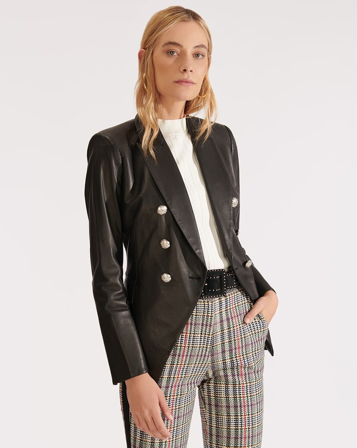 Veronica Beard Miller Leather Dickey Jacket