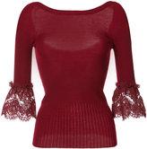 Oscar de la Renta lace detail bell sleeve top - women - Merino - XS