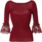 Oscar de la Renta lace detail bell sleeve top