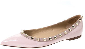 Valentino Light Pink Patent Leather Rockstud Pointed Toe Ballet Flats Size 37.5