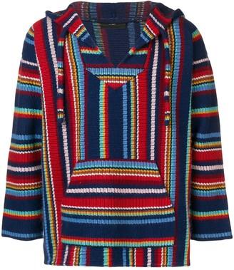 Alanui Striped-Knit Hooded Jumper