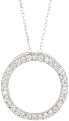 ADORNIA Sterling Silver CZ Open Ring Necklace