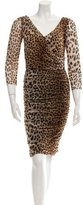 Fuzzi Ruched Leopard Print Dress w/ Tags
