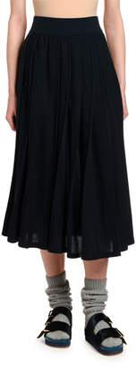 Agnona Cashmere Box-Pleated Pull-On Skirt