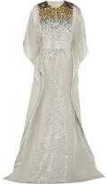 Oscar de la Renta Sequined Silk-blend Lamé Gown - Gold