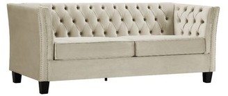 "Red Barrel Studio Tufted 79"" Flared Arm Sofa Fabric: White"