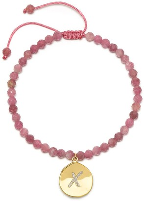 Lola Rose London Kiss Charm Bead Bracelet Pink Tourmaline