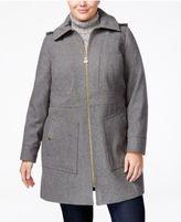 MICHAEL Michael Kors Size Hooded Wool-Blend Walker Coat