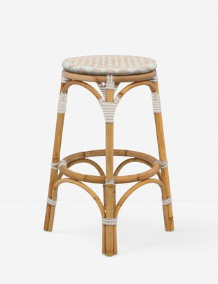 Lulu & Georgia Cayla Indoor / Outdoor Counter Stool, White and Blush