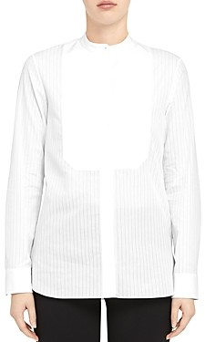 Theory Sheer Pinstripe Cotton Combo Bib Shirt