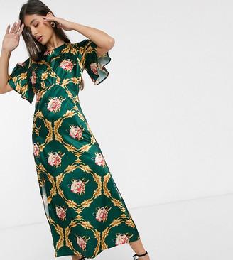 John Zack Tall fluted sleeve mini dress in green rose print-Multi