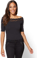 New York & Co. Tee Luxe - Lace-Trim Off-The-Shoulder Tee