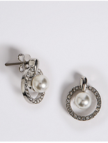 M&S Collection Pavé Pearl Drop Stud Earrings