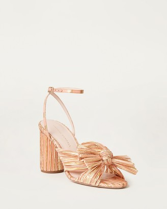 Loeffler Randall Camellia Bow Ankle Strap Heel Bermuda/Gold