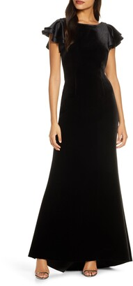 Eliza J Satin Sleeve Velvet Trumpet Gown