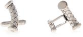 Bottega Veneta Intrecciato silver curved cufflinks