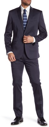Kenneth Cole Reaction Black Solid Two Button Notch Lapel Performance Skinny Fit Suit