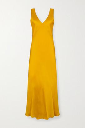 ASCENO Bordeaux Silk-satin Maxi Dress - Marigold