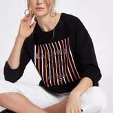 River Island Womens Black 'la beaute' embossed sweatshirt