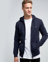 Armani Jeans Zip Up Hoodie with Logo In Navy