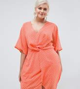 Missguided Plus Twist Front Polka Dot Dress