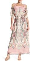 Sandra Darren Printed Off-the-Shoulder Maxi Tank Dress