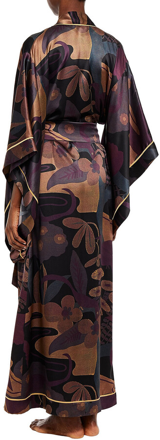 Thumbnail for your product : Carine Gilson Printed Silk-satin Robe