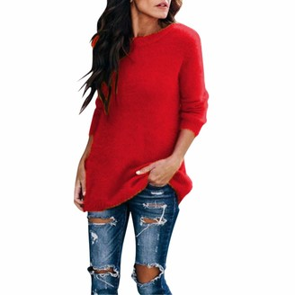 Gofodn Women Pullover Sweater Jumper Winter Casual Plus Size Solid Round Collar Plush Long Sleeve Knitwear Tops Blouse Red
