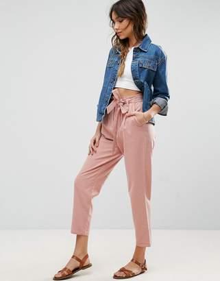Asos Design Tie Waist Linen Peg Trousers-Multi